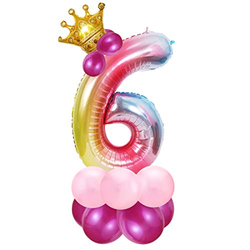 Foil Globo Número 6 Rosa, 6er Cumpleaños Globos, Feliz Cumpleaños Decoración Globos 6 Años Niñas, Arco Iris Globos de Número 6, Globos Numeros para Cumpleaños, Fiesta, Decoración