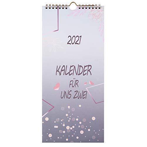 KOHMUI Du + Ich Paarkalender 2021 mit 3 Spalten, Planer für Zwei 2021 zum Selbstgestalten, Kalender für 2, Wandkalender für Paare, Paarplaner, Partnerkalender, Geschenkidee für Freundin oder Freund