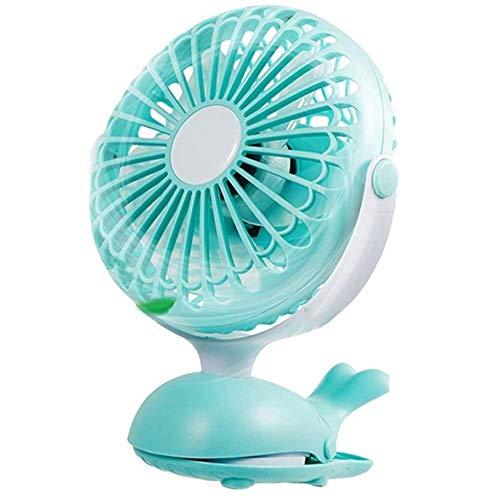 Mini ventilador eléctrico de enfriamiento, ventilador de clip Ventilador de cochecito portátil Diseño de ballena lindo Ventilador de escritorio personal USB recargable Inclinación ajustable Convenie