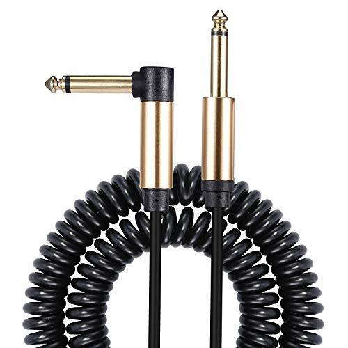 Asmuse Spiralkabel Gitarre Kabel Klinke Curly Instrumentenkabel 6,35mm 1/4 Zoll für E Gitarre Bass Rauschunterdrückung bis Amp Verstärker und Zubehör-5m