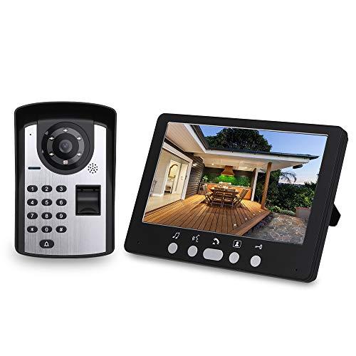OWSOO 7'' Videoportero Cableado, Cámara Impermeable + LCD Monitor, 1000 Huellas Dactilares + Contraseña + Desbloqueo de Remoto, Audio Bidireccional, Visión Nocturna, Intercomunicador Manos Libres