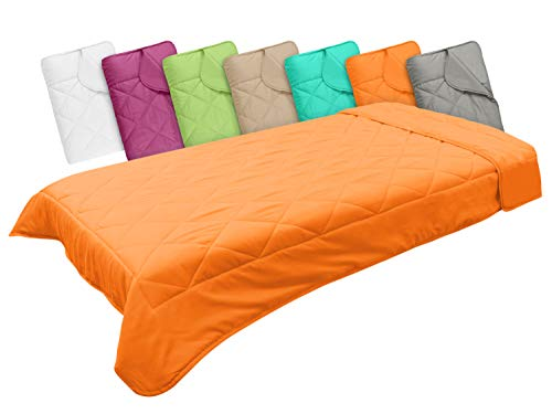 npluseins Leichtsteppbett in 3 Größen und in 7 modernen Farben, ca. 155 x 220 cm, orange
