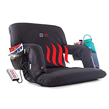 POP Design The Original Hot Seat Heated Stadium Bleacher Seat Reclining Back and Arm Support Thick Cushion 4 Storage Pockets Plus Cup Holder  Battery Pack Not Included