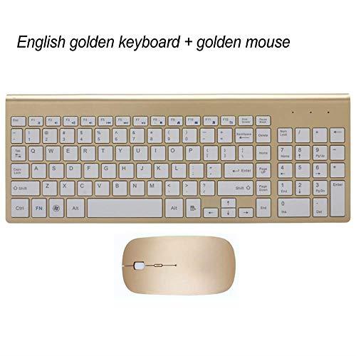 LMDZSW Ultradünne Business Wireless Tastatur und Maus Combo 102 Tasten Geräuscharme Wireless Tastatur Maus für Mac PC Win XP / 7/10 TV BoxGold KM-US