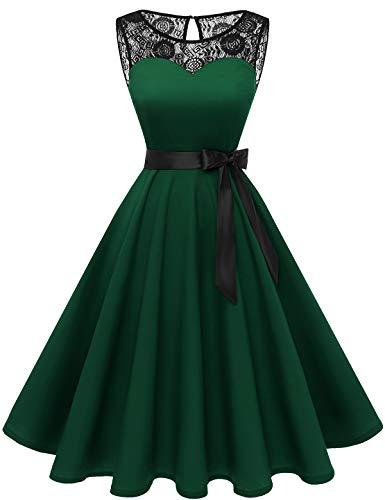 Bbonlinedress 1950er Ärmellos Vintage Retro Spitzenkleid Rundhals Abendkleid Deep Green L
