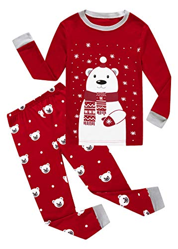 Family Feeling Little Girls Boys Long Sleeve Christmas Pajamas Sets 100% Cotton Pyjamas Toddler Kids Bear Pjs Size 3T Red