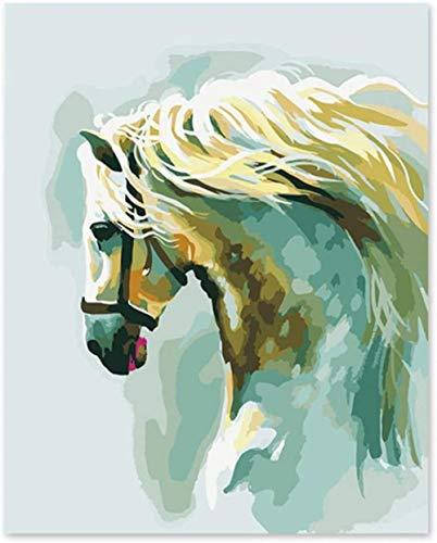 FNBN Malen nach Zahlen für Erwachsene und Kinder DIY Ölgemälde Abstrakte Pferd Wanddekoration auf Leinwand gemalt von Segelboot DIY Malerei