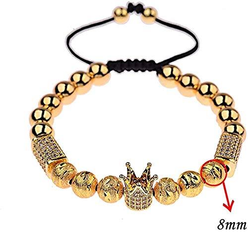 zhuangpuxu Necklace Necklace Luxury Jewelry Couple Distance Bracelets for Women Men Color Crown&Beaded Bracelet