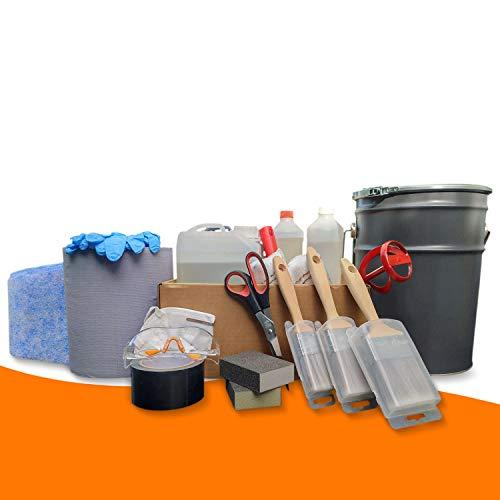 BEKATEQ 2K PU Abdichtung Set Flüssigkunststoff für Dach, Balkon, Bad, Küche, Terrasse BK-999PU - 10qm, Anthrazitgrau