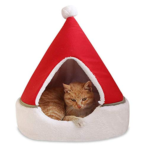 Christmas Hat Pet Cat Dog House Kennel Puppy Cave Sleeping Bed Christmas Tree Shape Winter Warm Bed Cats Dog Pet Tent House Winter Warm Small Dog Christmas Cat Litter Removable and Washable,50x55cm