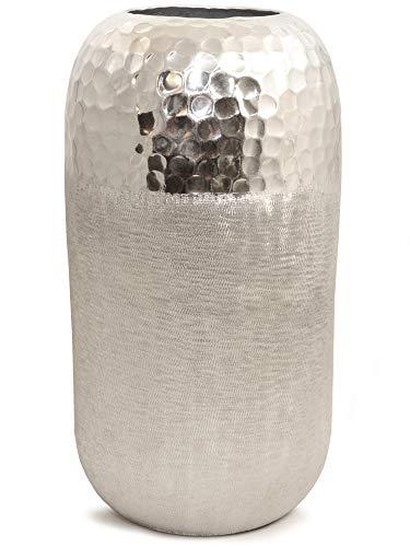 Werner Voss Two Tone - Runde Designervase Silber Aluminium gehämmert - H 25 cm - Edle Dekovase Vase Dekoration modern Design