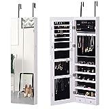 HOMCOM Schmuckschrank Spiegelschrank Wandschrank mit LED Wand-/Türmontage MDF Weiß 37 x 120 x 10 cm