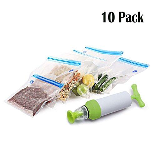Piklohas Food Sous Vide Bag, Bolsas Selladas Al Vacío Reutilizables BPA Free Food para Anova Joule Cocinas de Precisión Fácil Usar para Vacío Sellado y Cocinado con 1 Bomba Manual