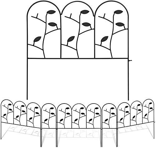 Amagabeli 46cm X 214cm Gartenzäune Aus Metall Set Zaunelementen Dekorative Blätter Zaun Komplettset Zaun Metall Holz Draht Zäune Mobiler Gartenzaun Metall Klein