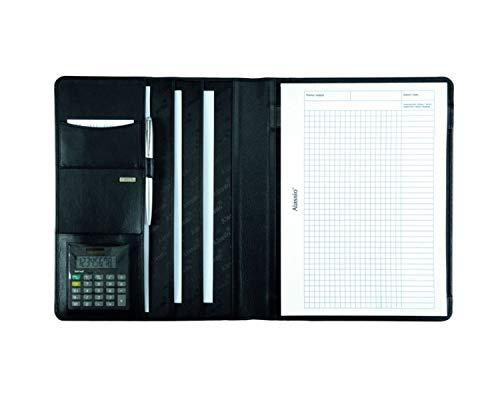 Alassio 43006-1 - Schreibmappe A4 CREMONA aus Nappaleder, Dokumentenmappe schwarz, Konferenzmappe ca. 32 x 25 x 2 cm, Mappe für A4 Dokumente, mit Taschenrechner, Block A4 und Einschubfächer