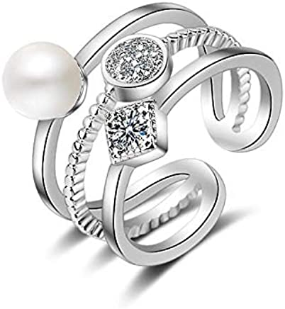 02864a54a9 JRosee Swarovski Element Pearl Ring for Women Adjustable Size