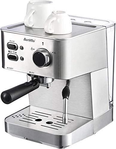 Barsetto Espressomaschine mit Siebträger und Professioneller Milchschaumdüse, 1350W Hohe Leistung Edelstahl Kaffeemaschine, 15 Bar Siebträgermaschine für Espresso, Cappuccino