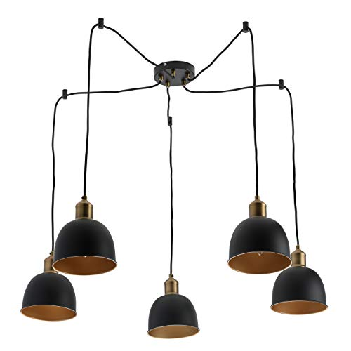 MW-Light 551011305 Loft - Lámpara de techo (metal mate, 5 focos), color negro