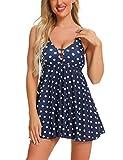 FINWANLO Womens Tankini Swimsuits Tummy Control Swimwear Dot Printed Two Piece Bathing Suits with Boyshorts Slimming Swimdress