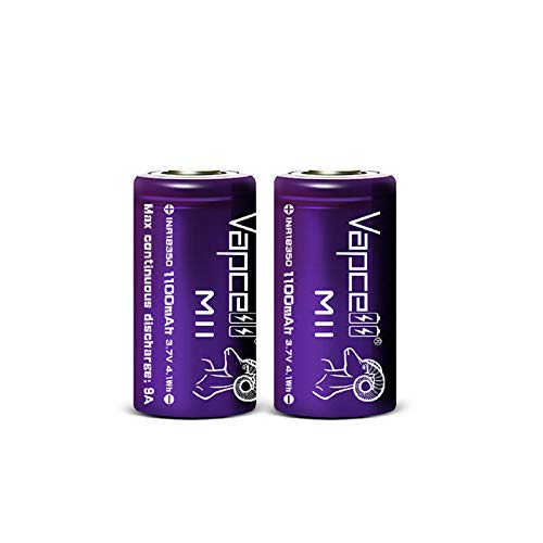Vapcell 3.7v 1100mah Flat Top 18350 9A Discharge high Drain Li-on IMR Rechargeable Lithium Battery 2pcs
