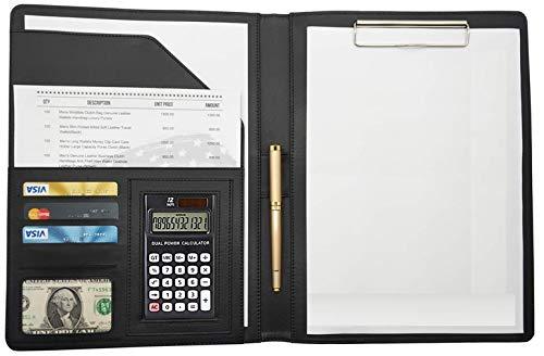 【OHGAYA】 A4 ファイル クリップボード 二つ折り 12桁電卓付き シックブラック