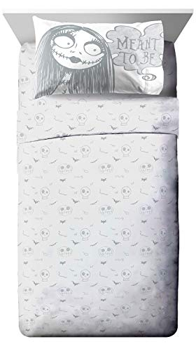Disney Nightmare Before Christmas Meant to Be Twin Sheet Set - 3 Piece Set Super Soft and Cozy Kid's Bedding Features Jack Skellington & Sally - Microfiber Sheets (Official Disney Product)
