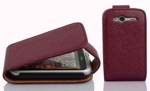 Cadorabo DE-100132 - Funda con Tapa para HTC Wildfire S (Piel sintética), Color Morado
