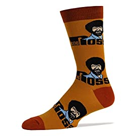 Men's Novelty Crew Socks Exclusive for Bob Ross, Oooh Yeah Funny Socks, Christmas Socks, Dress Cotton Socks 3 COMBED COTTON Socks size 10-13. One size fits most men. BOLD & BRIGHT - Welcome to the year of the pattern. Whether you prefer to wear them on shirts, pants, or blazers, bold patterns are taking the world by storm. Socks aren't immune from the pattern fever, and for good reason- colorful socks add a unique punch to any outfit, from dressy suits to casual jeans. QUALITY CONSTRUCTION - Oooh Yeah Socks are constructed to look good and built to last. The high quality construction gives these socks extra durability and flexibility during wear. For you, this means a pair of socks great for all day wear, no matter what you're up to. Standing on your feet working, formal events, even lounging around the house, Oooh Yeah Socks! are great for any occasion.