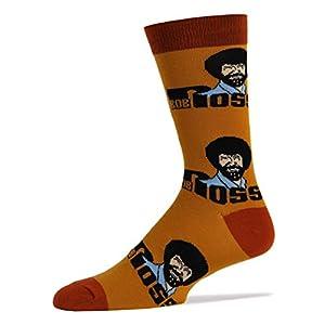 Men's Novelty Crew Socks Exclusive for Bob Ross, Oooh Yeah Funny Socks, Christmas Socks, Dress Cotton Socks