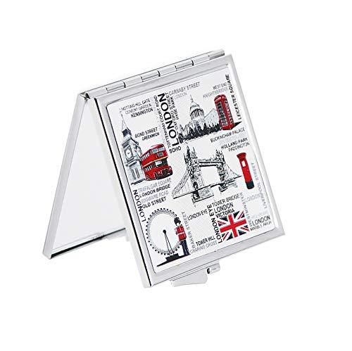 Sterling Product Schminkspiegel Kompaktspiegel Britisches Souvenir Klappspiegel für Taschenspiegel Quadratische Form (London)
