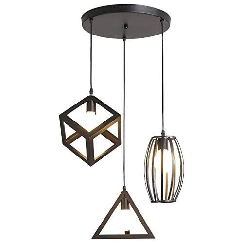 Lámpara de Techo Restaurante dirigido tres cabeza de la lámpara pendiente de la lámpara de hierro forjado de techo de iluminación Fixture Bar Comedor de iluminación lámpara de techo led
