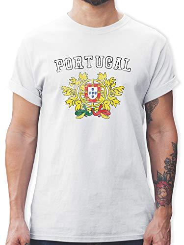 Fussball EM 2021 Fanartikel - Portugal Wappen EM - M - Weiß - Portugal Shirt Herren - L190 - Tshirt Herren und Männer T-Shirts