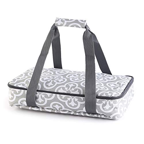 Insulated Casserole Carrier with Handle for Potlucks, Thanksgiving - Grey