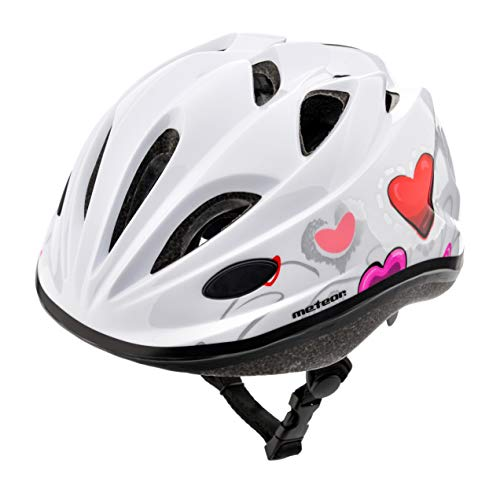 meteor Casco Bicicleta Bebe Helmet Bici Ciclismo para Niño - Cascos para Infantil - Bici Casco para Patinete Ciclismo Montaña BMX Carretera Skate Patines monopatines HB6-5 (S (48-52 cm), KS07 Hearts)