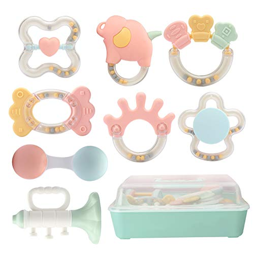 Best Buy! AKDSteel Baby Rattles Set Teething Play Toys Development Educational Musical Gift Set 8pcs...