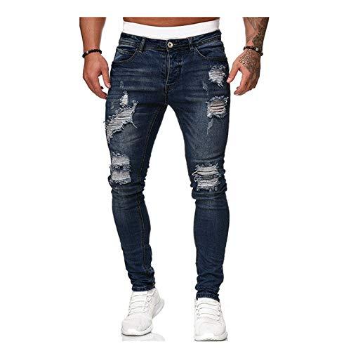 XIALIUXIA Pantalones Vaqueros para Hombre, Pantalones Ajustados Jeans Rotos Elasticos Slim Fit Stretchy Ripped Classic Jeans Denim Casuales Pants Regular Recta,D,L