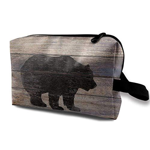 XCNGG Bolsa de cosméticos para mujer Bolsas de aseo suaves Bolso multiusos Bolsa de almacenamiento Silueta de oso rústico en madera Lodge Art