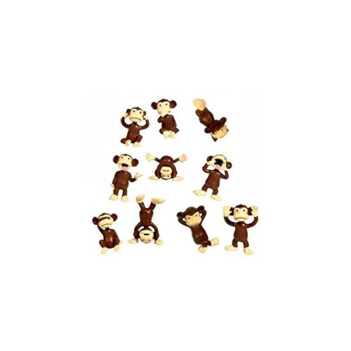 AAG Monkey Figures - 10 Tiny Plastic Monkey Figures