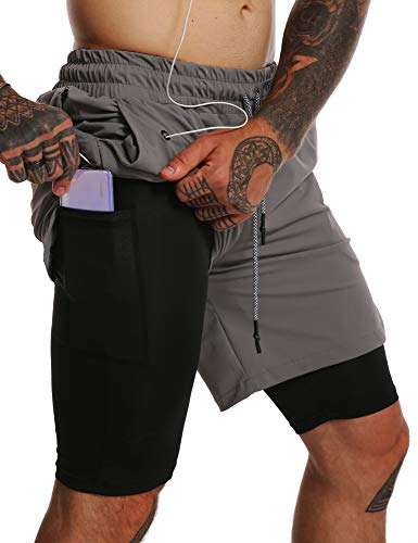 """GYMBULLFIGHT Mens 2 in 1 Running Shorts 7"""" Quick Dry Gym Athletic Workout Short Pants for Men with Phone Pockets Dark Grey"""