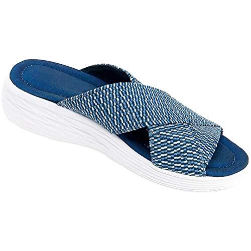 BOQIAN Alltägliche Damen Pantoffeln, Damen Sandalen mit mittlerem Absatz, einfarbige Strand Pantoffeln, Bequeme Damenstrand- und Stützsandalen