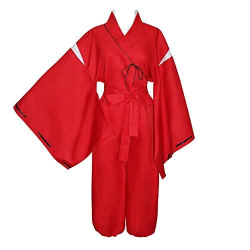 LiZyBr Inuyasha Disfraz de Cosplay Kikyo Style Kimono japonés con Inuyasha Ears Disfraz de Halloween Anime Cosplay Top + Pantalones + Collar de Cuerda + Brazalete de Collar con Peluca