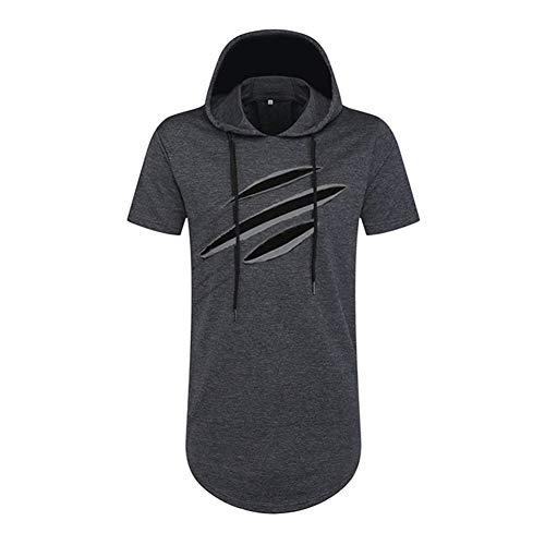 PUJIANGxian Men Incappucciato Manicotto T-shirt Allentata Drawstring Incappucciato Foro sweatshirt comfortabel
