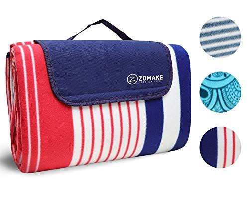 ZOMAKE Picknickdecke wasserdicht sanddichte Fleece Outdoor XXL Campingdecke Stranddecke (Rot und Blau 200x200cm)