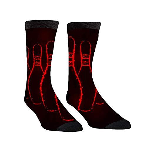 Rincvo Bowling Pins Lights Schwarz Rot Crew Dress Socken Kompressionsstrümpfe für Frauen und Männer - Best Medical, Nursing, Travel & Flight S