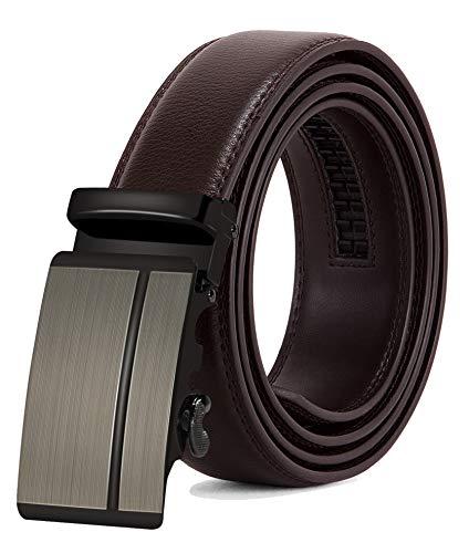 ITIEZY Ledergürtel Herren Automatik Gürtel mit Automatikschließe-3,5cm Breite, Länge: Bis zu 49,2 inch (125cm), Kaffee18