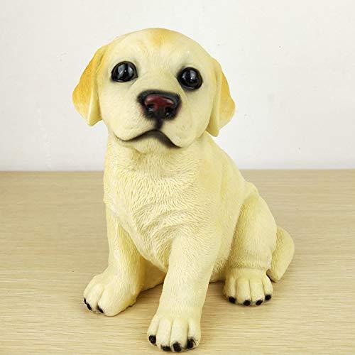 Deko Skulpturen Statue Figur Simulationshündchen-Niedliches Katzendekorationshundebulldog Shiba Inu-Welpenmodell-Verzierungsgeschenk, Champagner Labrador-Sitzen