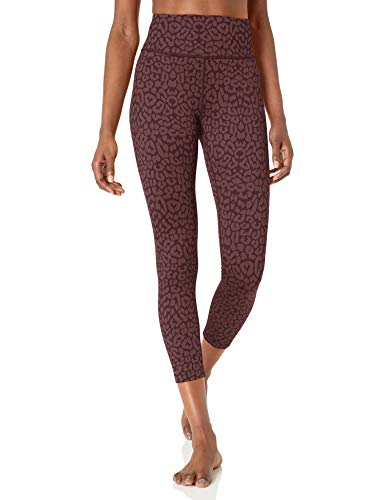 "Amazon Brand - Core 10 Women's Leopard Jacquard Yoga High Waist 7/8 Crop Fashion Legging-24"", Wine Leopard Jacquard, L"