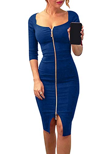 OMZIN Damen Sexy Kleider Reißverschluss vorne Sommerkleid Tiefer Ausschnitt Figutbetontes Kleid Knielanges Partykleid Blau M