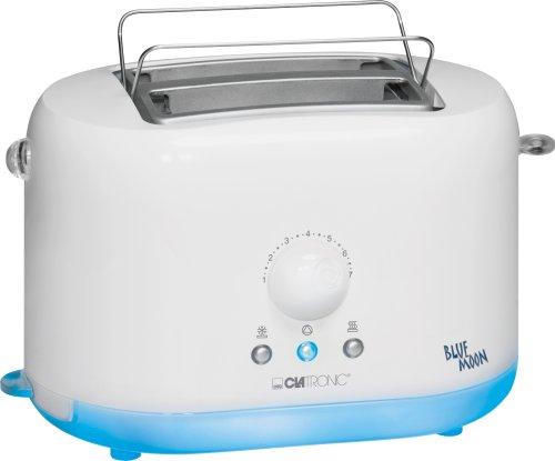 Clatronic TA 3246 Blue Moon kompakter, Cool-Touch-Gehäuse, 2-Scheiben-Toaster, 870 Watt