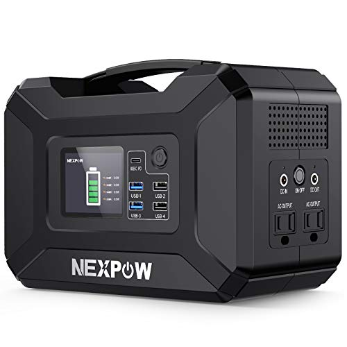 NEXPOW Portable Power Station, 296Wh 80000mAh Solar Generator 110V/300W (Peak 500W) 2 AC Outlet/4 USB Ports/2 DC Ports/QC 3.0 PD Ports for iPhone 12 Backup Battery Power Supply for CPAP Outdoor Camp